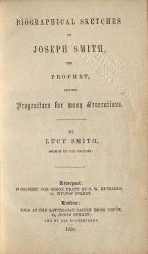 History of Joseph Smith by His Mother - Title page of the first edition in 1853.