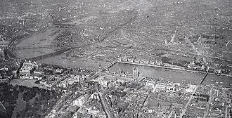 Westminster -  Bird's-eye view of Westminster in 1909