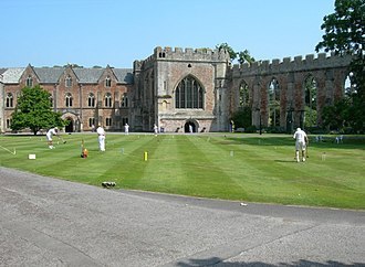 Bishop's Palace, Wells - Croquet on the lawn of The Bishops Palace in front of the chapel