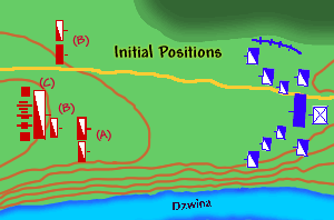 Battle of Kokenhausen - Initial positions