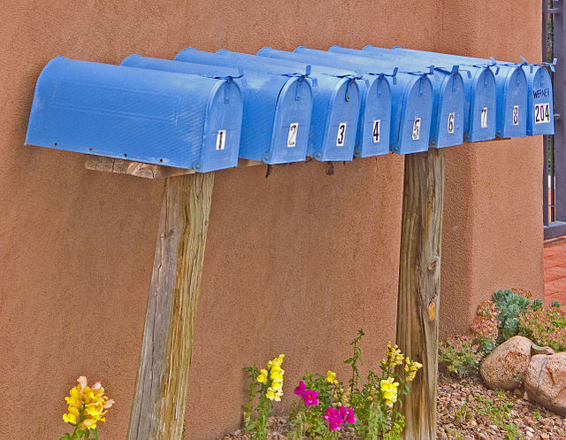 From commons.wikimedia.org: Blue Mailboxes {MID-72814}