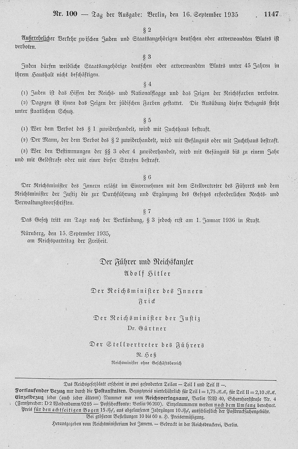 Blutschutzgesetz v.15.9.1935 - RGBl I 1147