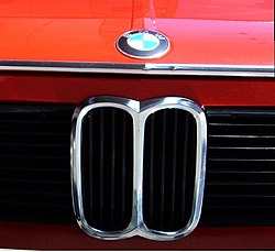 The characteristic kidneys or nostrils on the grill were first seen on the BMW 303 in the early 1930s. Shown here is a BMW 2002.