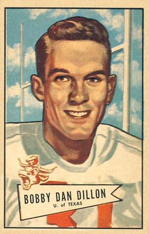 Bobby Dillon - Dillon on a 1952 Bowman football card