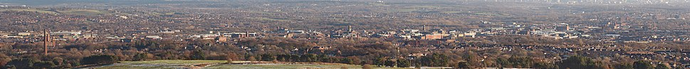 A panoramic view of Bolton and environs from the north-west, taken from Winter Hill.