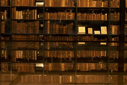 Bookshelf at the Beinecke Rare Book & Manuscript Library. The top floor contains 180,000 volumes. Since 1977, all new acquisitions are frozen at -33 degrees to prevent the spread of insects and diseases. Bookshelf at Yale.jpg