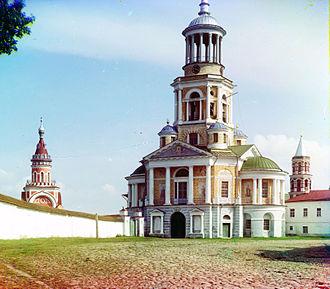 Nikolay Lvov - Bell tower of Borisoglebsky Monastery. Photograph by Sergey Prokudin-Gorsky, 1910