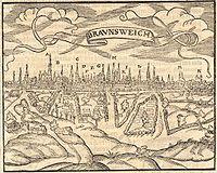 Braunschweig Brunswick (Holzschnitt um 1550 Woodcut approx 1550).jpg