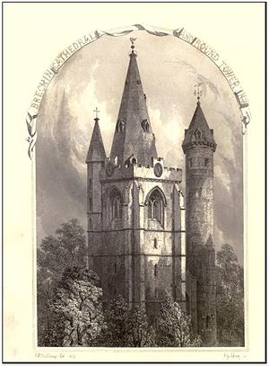 Bishop of Brechin - Sketch of Brechin Cathedral and Round Tower, north-west, drawn by W.R. Billings and engraved by J. Godfrey, in the 1800s.
