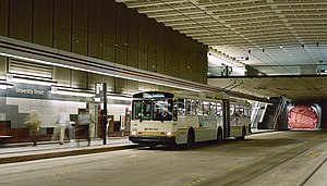University Street station - A dual-mode bus stopped on the northbound platform at University Street station in 1994