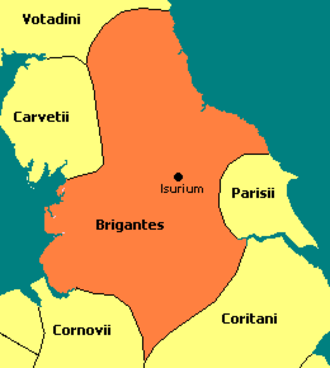 Brigantia (ancient region) - The size of Brigantia is shown in ancient Britain also showing the neighboring tribal borders