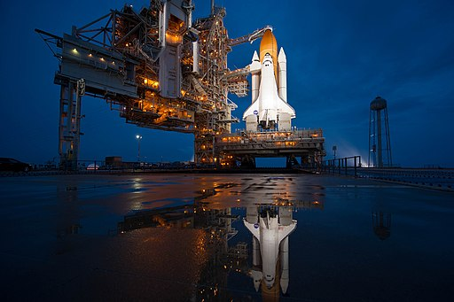 Brightly lit STS-135 on launch pad 39a