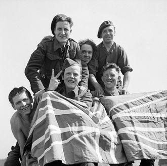 Stalag XI-B - British Prisoners of War celebrate their liberation from Stalag XI-B, 16 April 1945