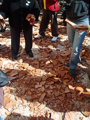 Shards of pottery vases on the street, after b...