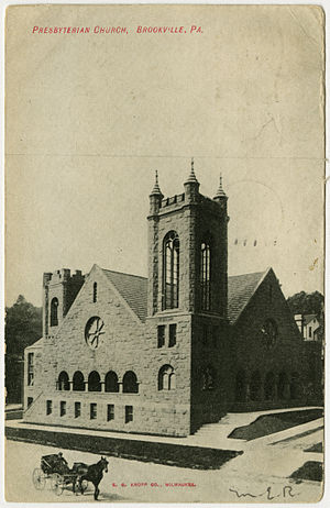 Brookville, Pennsylvania - Brookville Presbyterian Church from a pre-1923 postcard