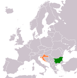 Map indicating locations of Bulgaria and Croatia