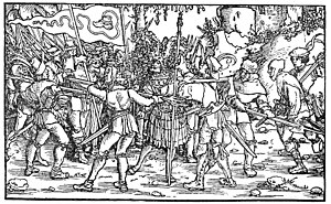 "Bundschuh movement - Rebellious peasants surrounding a knight. The Bundschuh (""tied shoe"") emblem is displayed on their banner"