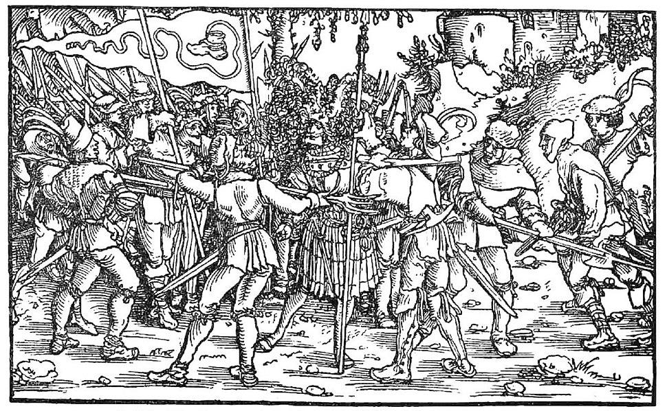 Bundschuhfahne Holzschnitt 1539 Petrarcas Trostspiegel