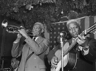 Bunk Johnson - Bunk (left) with Lead Belly in New York City, 1946