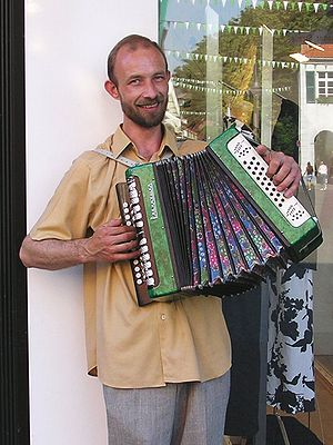Busking Accordionist in Dorsten. Pictured acco...