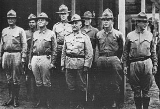 United States occupation of Veracruz - The senior officers of the 1st Marine Brigade photographed at Veracruz in 1914. Front row, left to right: Lt. Col. Wendell C. Neville; Col. John A. Lejeune; Col. Littleton W. T. Waller, Commanding; and Maj. Smedley Butler.