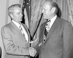 U.S. Senator Robert Byrd meeting with Presiden...