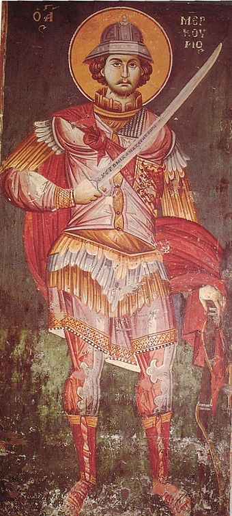 A Byzantine fresco of Saint Mercurius (a Christian victim of the Decian persecution), dated 1295, from Ohrid, North Macedonia Byzantine icon St-Mercurius 1295.jpg