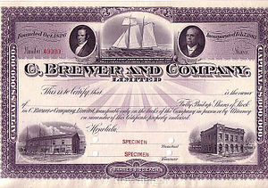 C. Brewer & Co. - Image: C.Brewer and Company Specimen Stock Certificate, made by American Bank Note Co