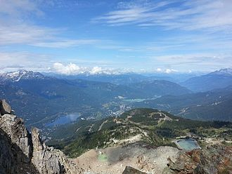 """Enduro (mountain biking) - View from """"Top of the World"""" trail in Whistler B.C., the start of a stage of the Whistler Crankworx Enduro Race."""