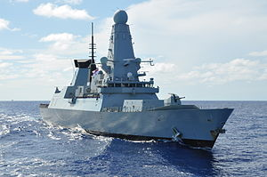 CARIBBEAN SEA (Sept. 28, 2012) The Royal Navy destroyer HMS Dauntless (D-33) passes the UNITAS flagship.jpg