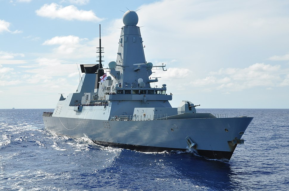 CARIBBEAN SEA (Sept. 28, 2012) The Royal Navy destroyer HMS Dauntless (D-33) passes the UNITAS flagship
