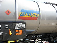 CFR Marfă freight train contains diesel product.JPG