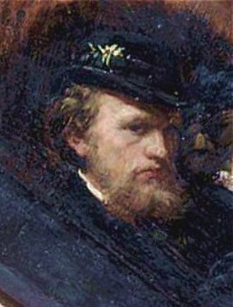 Carl Gustaf Hellqvist - Self portrait (detail of a larger painting), Nationalmuseum.