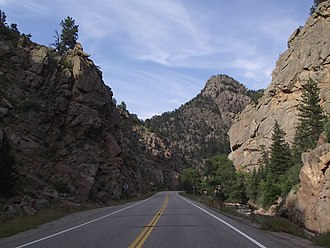 Colorado State Highway 7 - State Highway 7 in South St. Vrain Canyon near Lyons.