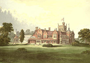 Athlone House - An engraving (c.1880) of Caen Wood Towers shortly after it was built by Edward Brooke.
