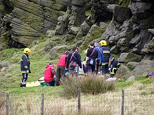 English: Call out at Windgather Rocks Buxton M...