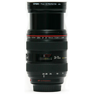 Canon EF 24–70mm lens - Image: Canon 24 70 mm F2.8 lens side at 24 mm