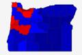 Carte des résultats de l'élection présidentielle américaine de 2016, par comté, En Oregon (Rouge- Clinton - Bleu- Trump).png