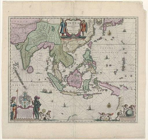 Cartografie in 17de eeuw, kaart van Indonesië en een deel van Zuid-Oost-Azië, Willem Janszoon Blaeu, 1635 - Rijksmuseum