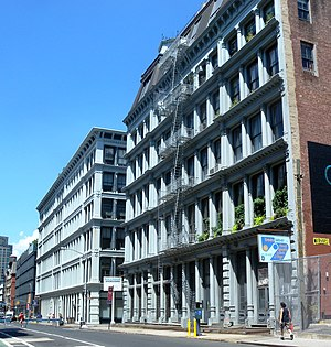 Cast-iron buildings on Grand Street between Lafayette Street and Broadway