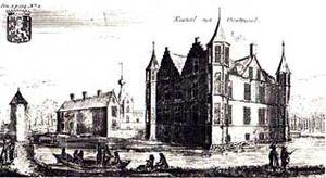 Renesse Castle - Castle de Renesse around 1680. Engraving published in the Notitia Marchionatus of baron Jacobus (Jacques) Le Roy.