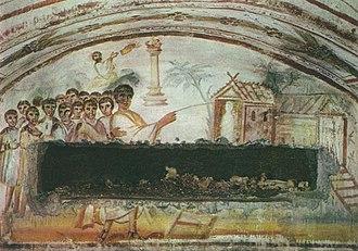 Via Latina - Resurrection of Lazarus, Catacombs of Via Latina.