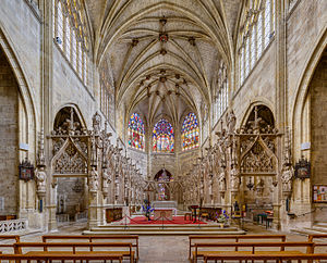 Chancel - View from the nave of the chancel of Condom Cathedral in France, with ambulatories and two altars, the modern one in the choir