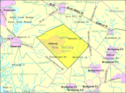 Census Bureau map of Alloway Township, New Jersey