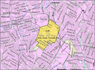 Lodi, New Jersey - Image: Census Bureau map of Lodi, New Jersey