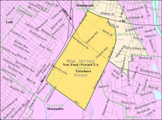 Teterboro, New Jersey - Image: Census Bureau map of Teterboro, New Jersey