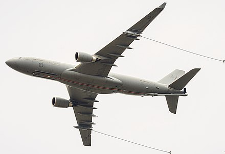 Airbus A330 MRTT/KC-30 of the RAAF with probes deployed Centenary of Military Aviation 2014 Air Show (RAAF Williams, Point Cook) (12852630743) (A330 only).jpg