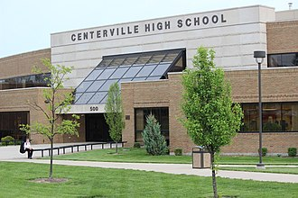 Centerville, Ohio - Main entrance of Centerville High School, taken May 9, 2014