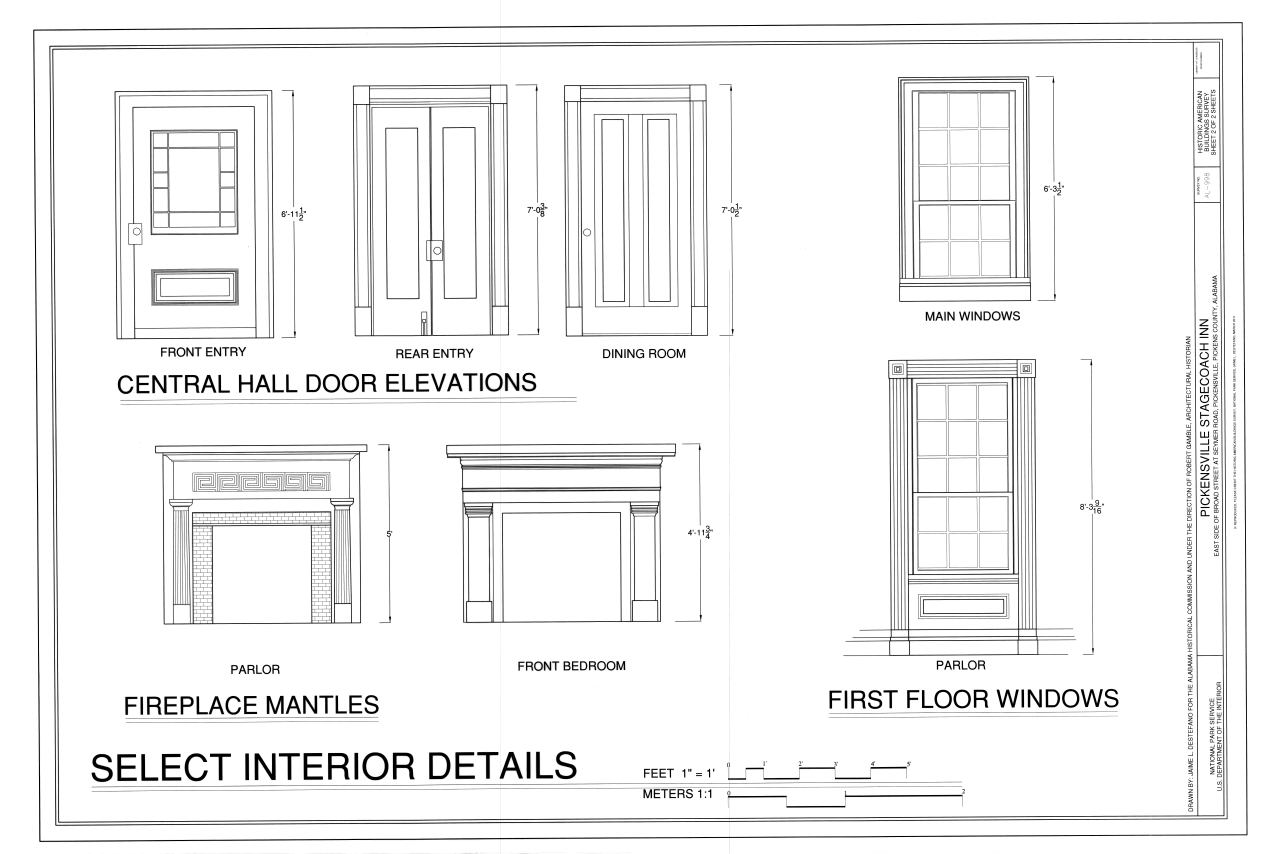file central hall door elevations fireplace mantels and first
