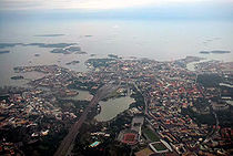 Central Helsinki from plane